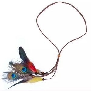 🛍2/$15or5/$25  NEW Peacock & Suede Braid Headband